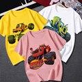 Детская одежда Blaze And The Monster Machine, 3 цвета, 24-9T, летняя облегающая футболка с коротким рукавом для мальчиков, с машинками, детские футболки