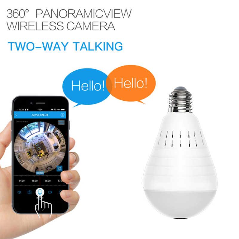 960p 360 seguridad wifi Cámara lámpara panorámica bombilla IP CCTV Video vigilancia seguridad Fisheye visión nocturna Audio bidireccional