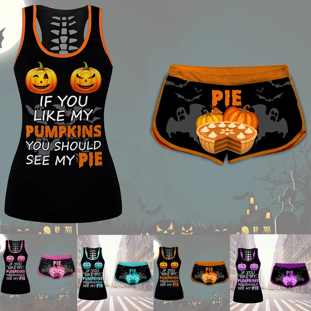 Halloween Women's Set Two Piece Ladies Pumpkins Pie Print Set Women Drawstring Shorts Set  Hollow back Vest and Sexy Shorts