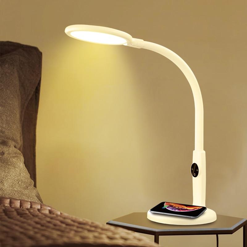 LED QI Wireless Charging Desk Lamp Touch Table Lamps For Living Room Gooseneck Desktop Folding Dimming Book Reading Light|Desk Lamps| - AliExpress