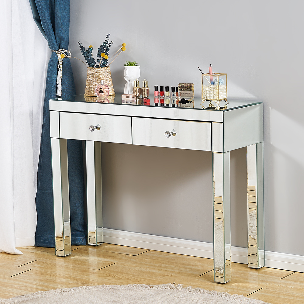 Panana Whole Mirrored Entryway Console Glass Desk 1/ 2 Drawers Bedroom Dressing Makeup Table Livingroom Display Table Toucadores