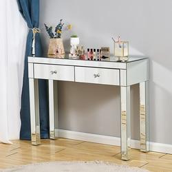 Presell, consola de entrada con espejo completo, escritorio de cristal, 1/2 cajones, tocador de dormitorio, mesa de maquillaje, mesa de exhibición para sala de estar, tocadores