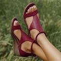 Сандалии женские кожаные на танкетке, Повседневная пляжная обувь, римские винтажные босоножки, гладиаторы, платформа с открытым носком, лет...