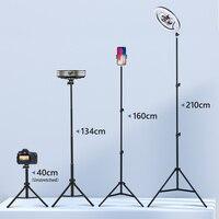 Trípode con anillo de luz para Selfie, soporte telescópico para fotografía, 134CM, 160CM, 200CM, soporte de teléfono para vídeo en vivo, Youtube
