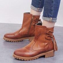 купить 2019 New Platform Winter Boots Women Shoes Rubber Black British Boots Leather Cross Strap  Ankle Boot Ladies Buckle Botas Mujer по цене 832.38 рублей
