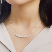 ASHIQI 925 Sterling Silver Necklace Natural Freshwater Pearl Handmade jewelry for women Fine Gift ashiqi natural freshwater baroque pearl layered necklace women 4 8mm 5 rows bohemia handmade jewelry fashion