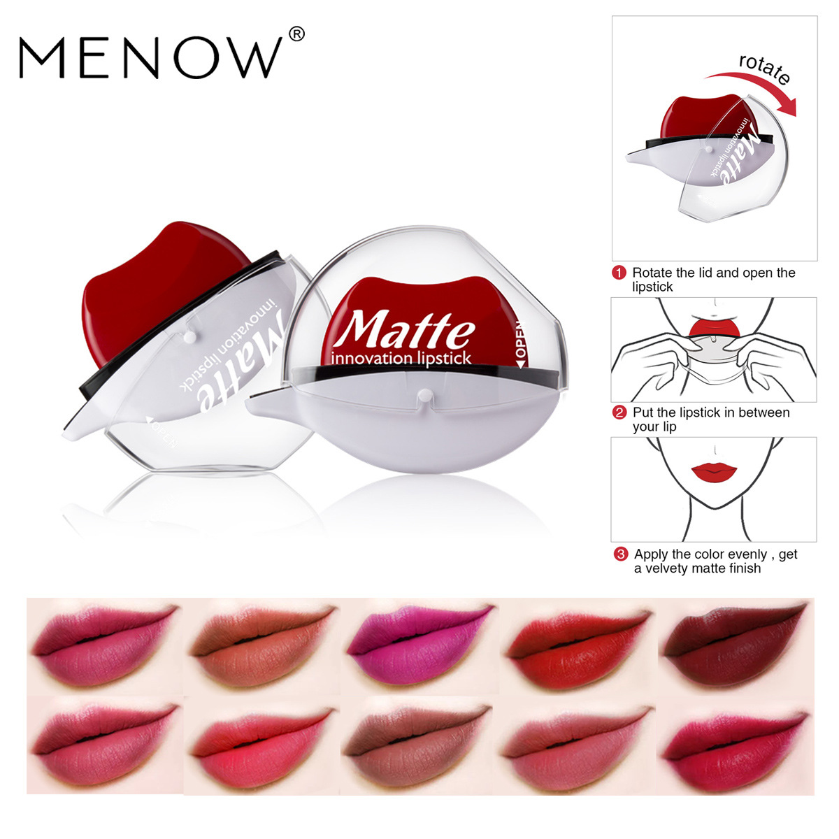 Vietnam Vietnam Hot Selling MENOW Meno L519 Lazy Population Red Waterproof Non-Decoloring Moisturizing Moisturizing Lipstick