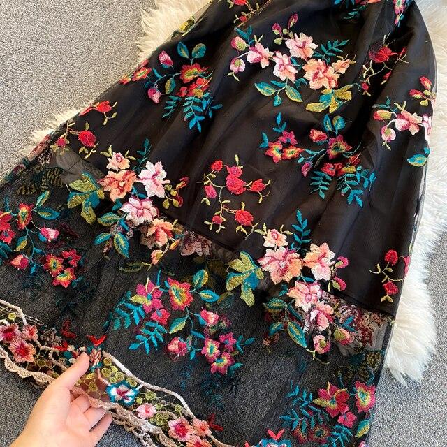 Women 2021 New Fashion Contrast Bow Round Neck Short Sleeve Slim Embroidery Flower A-line Dress Elegant Vestidos De Mujer R322 5