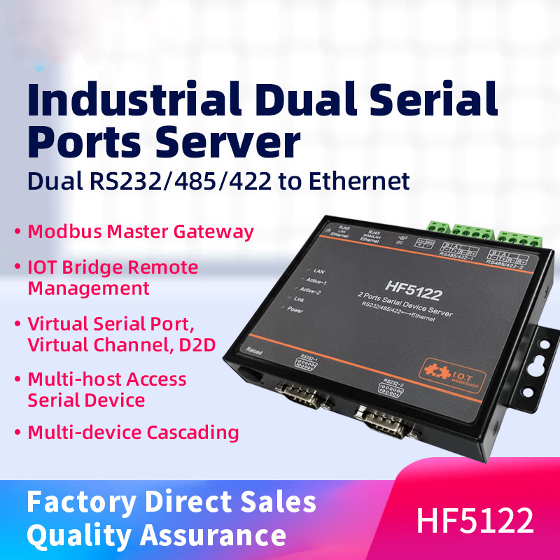 HF5122 RJ45 RS232/485/422 Serial To Ethernet Free RTOS Serial 2 Port Transmission Converter Serial Server(equal To 2pcs HF5111B)
