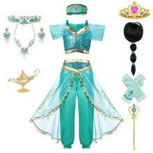 Детский комплект одежды из топа и штанов с изображением Аладдина и волшебной лампы «Принцесса Жасмин» с повязкой на голову для девочек; платье для дня рождения «Жасмин» для костюмированной вечеринки