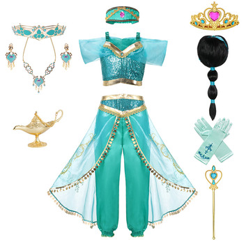 Kid Aladdin and the Magic Lamps Princess Top Pants Clothing Set with Headband Girls Jasmine Birthday Party Dress up Cosplay