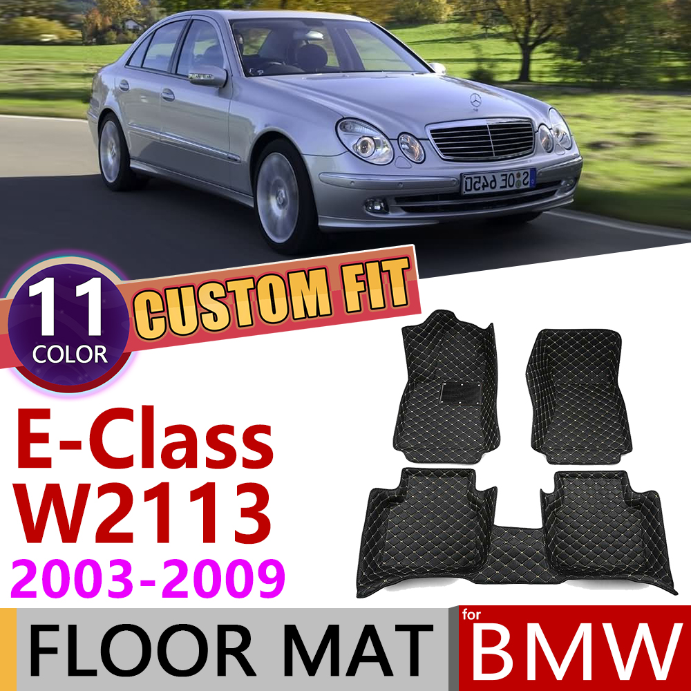 Custom Leather Car Floor Mats For Mercedes Benz E Class W211 2003~2009 5 Seats Foot Pad Carpet Accessories E240 E300 E350 E500