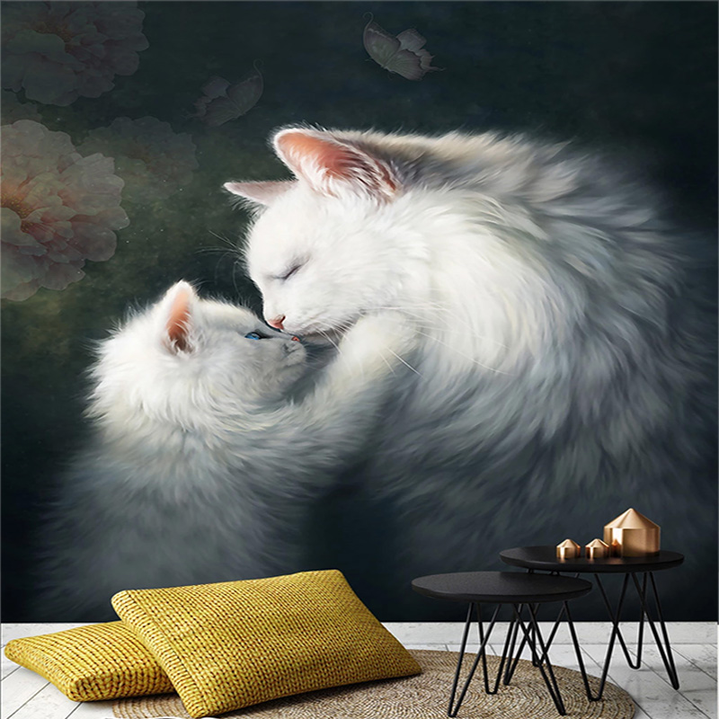 Custom Photo Wallpaper 3D Cats Animal Murals Living Room Kids Bedroom Home Decor European Style Wall Painting Papel De Parede 3D