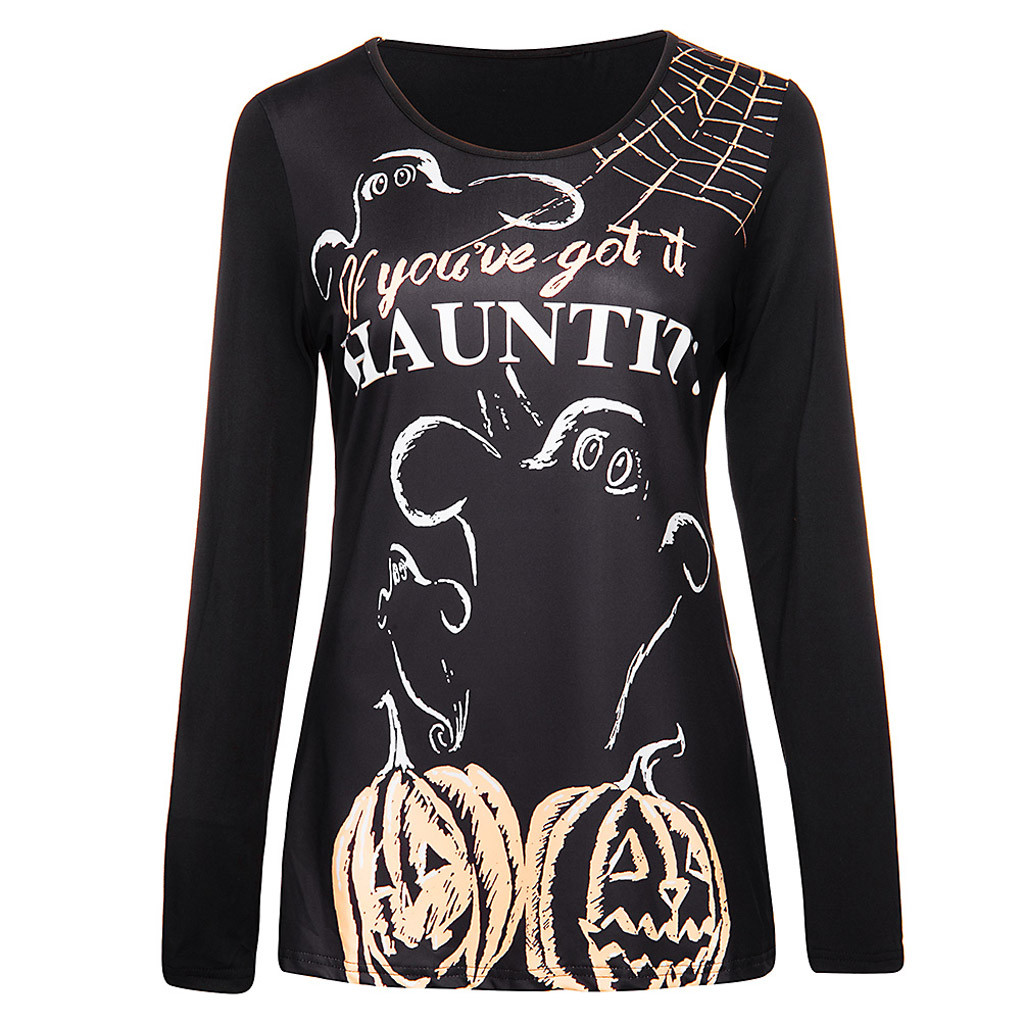 Women Halloween hoodies O-Neck Print Party Long Sleeve Pullover Sweatshirt Costume Tops sudadera holgada women fall clothing