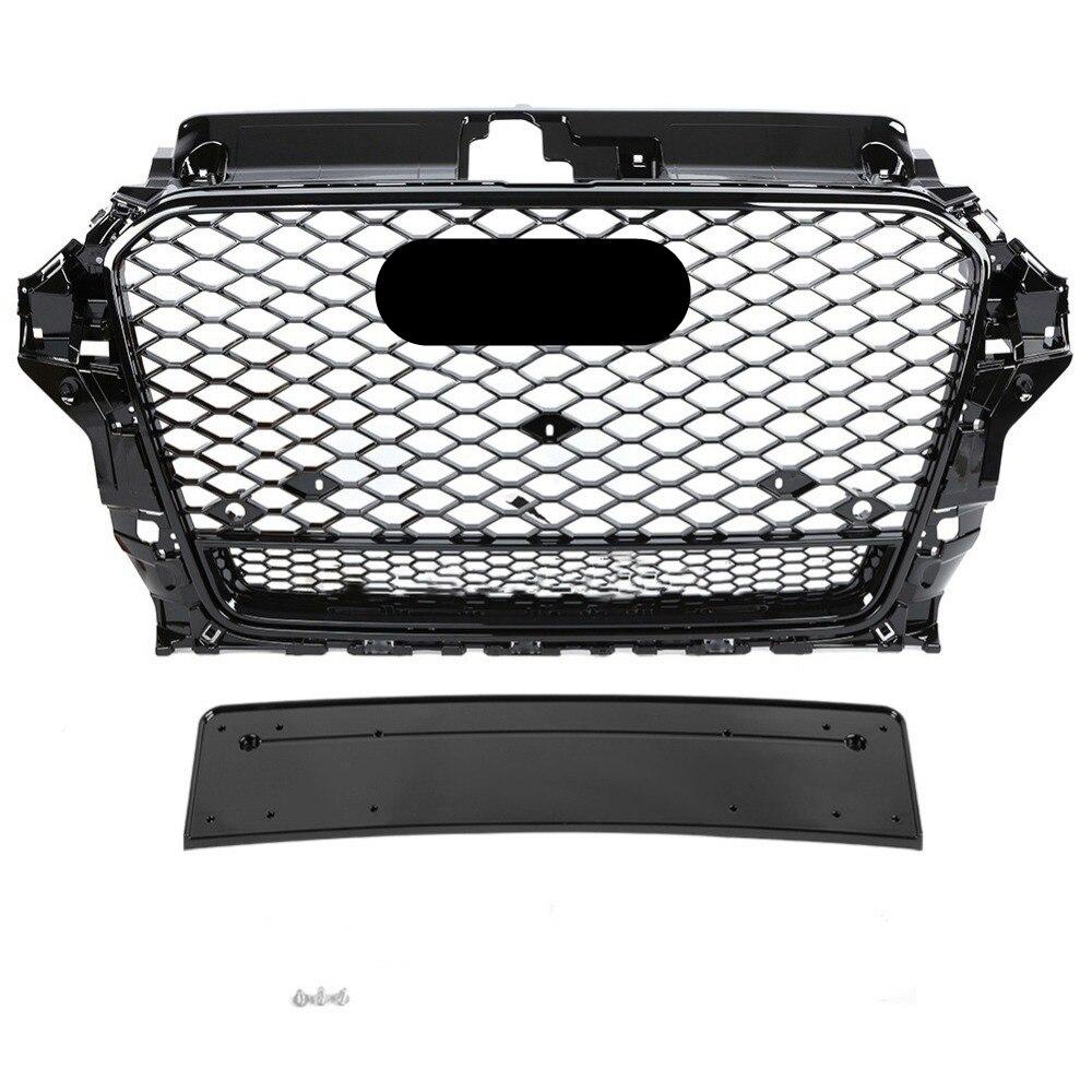 A nido d'ape Grill Mesh Gloss Nero per Audi A3/S3 8V 2014 2015 2016 RS3 Quattro Stile Esagonale Della Maglia paraurti anteriore Griglia di Cappa
