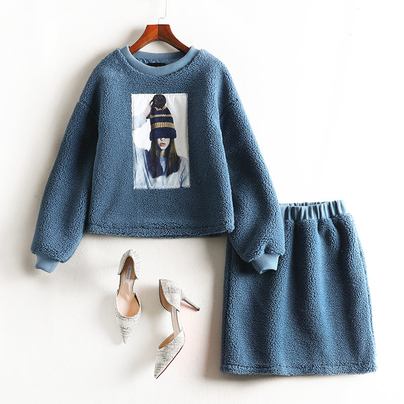 Large Size Dress Chubby Sister Mm Winter Lamb Suit Set By Age Tibetan Meat Online Celebrity Short Skirt Set Western Style 7918