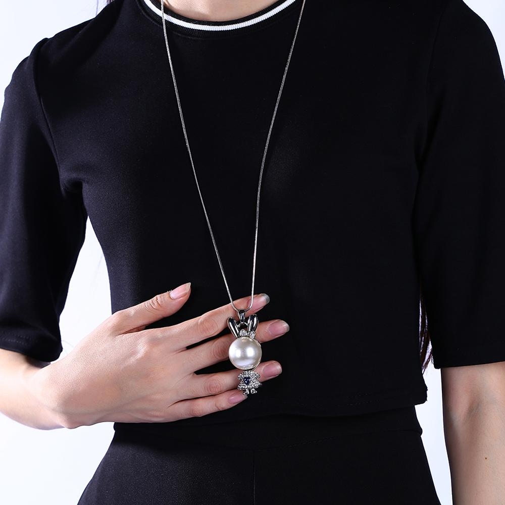 Simple Fashion 925 Silver Necklace Cubic Zirconia Pearl Sweater Long Chain Necklaces Women Collar Collares Chain Pendant Necklac