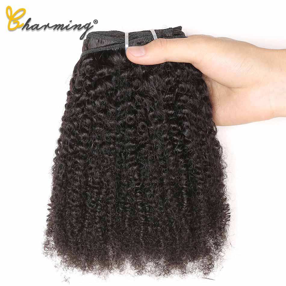 CHARMING Hair Peruvian Afro Kinky Curly Weave Remy Hair Clip In Human Hair Extensions Natural Color Full Head 8Pcs/Set 120G