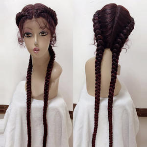 Braided Wigs Spring Lace-Frontal Baby-Hairs Black 28-Inches 360 for Women Synthetic