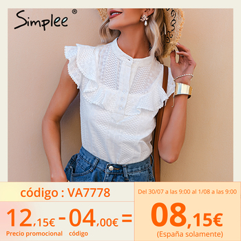 Simplee Elegant casual solid ruffled lace women blouse spring Embroidery button band collar shirt female fashion summer top lady 1