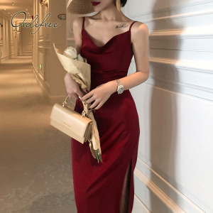 Ordifree 2020 Summer Vintage Women Satin Slip Dress Spaghetti Strap Black Burgundy Silk Sexy Long Party Dress