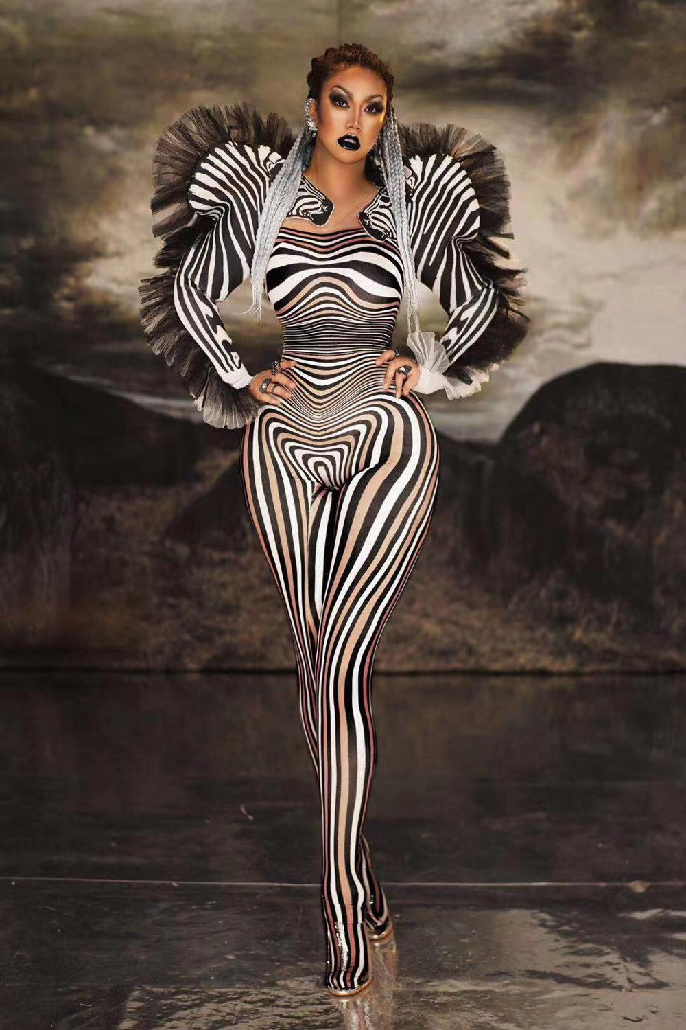 Women New Sexy Stage Zebra Pattern Jumpsuit Singer Sexy Stage Outfit Bar DS Dance Cosplay Bodysuit Costume Prom Costume