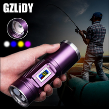 Powerful Portable LED Flashlight 4 Color Q5 LED Rechargeable Fishing Light Support Zoom with Battery Display Waterproof Torch