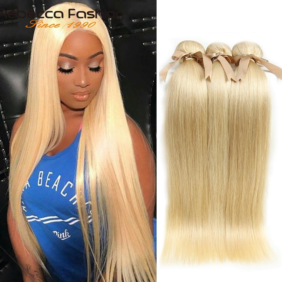 Rebecca Brazilian Straight Hair 613 Honey Blonde Bundles 1/3/4 Bundles Remy Hair Weaving Human Hair Bundles 10-26 Inch