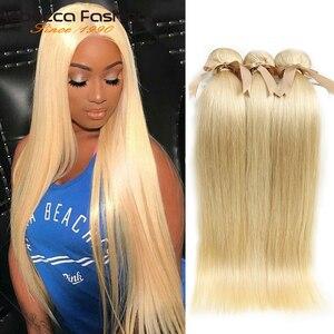 Image 1 - Rebecca brezilyalı düz saç 613 bal sarışın demetleri 1/3/4 demetleri Remy saç dokuma İnsan saç demetleri 10 26 inç