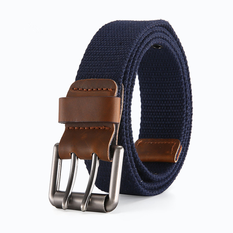 DYROREFL Canvas Belt For Men Simple And Easy To Wear Casual And Breathable Youth Belt With Double Needle Buckle 042