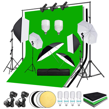 Photography Photo Studio Softbox Lighting Kit 2*3m Backdrop Support 135W Bulb Green Background Tripod Stand Reflector Umbrella