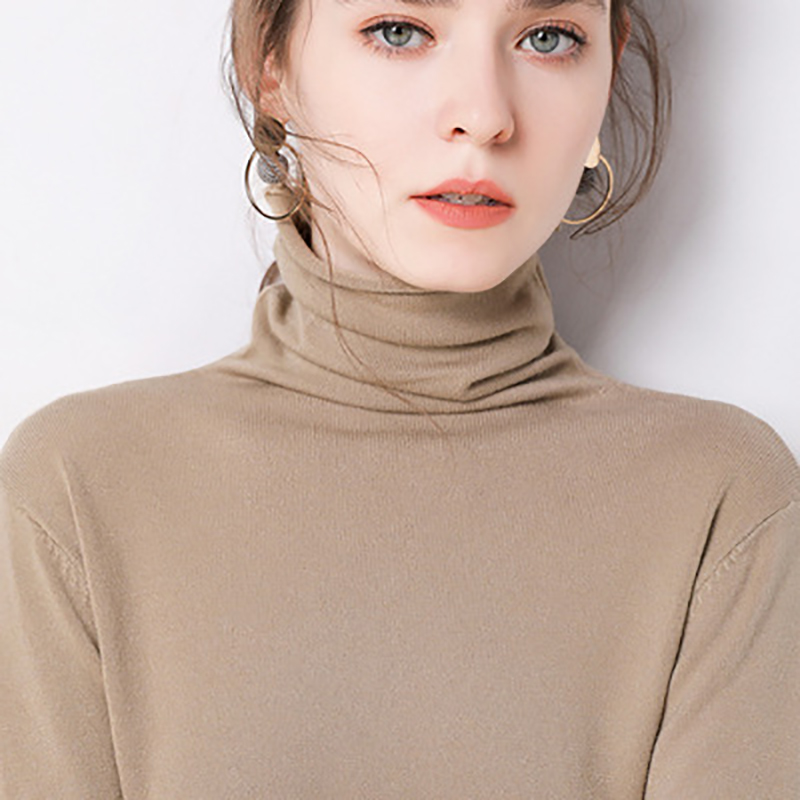 AECU Stretch Women Cashmere Sweaters Turtleneck Pullovers Soft Long Sleeve Slim-fit Knitting Solid Shirt 2019 Autumn Winter