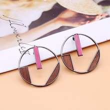 Free Shipping Geometric Wood Earrings Round Brown Pink Punk Party-Earring