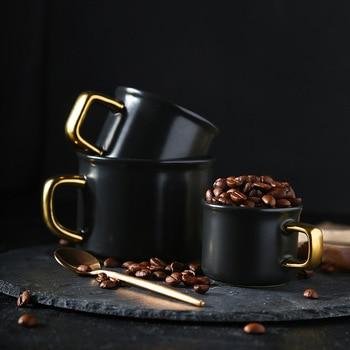 Ceramic mark simple coffee cup coffee shop gold handle matte Italian Mocha Coffee Mug