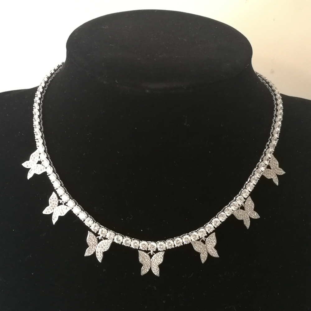Fashion Iced Out Bling Butterfly Choker Pendant Necklace Gold Silver Color with 4mm Tennis Chain Hip Hop Jewelry for Men Women