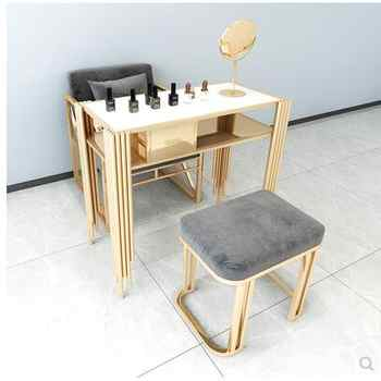 Online celebrity luxury nail art table and chair set marble iron nail art table single double three economical - DISCOUNT ITEM  25 OFF Furniture