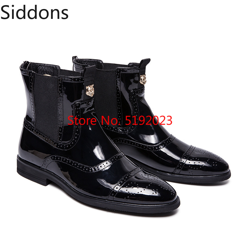 Winter Fashion High Upper Black Bright Patent Pu Leather Zipper Chelsea Men's Boots Male Casual Zapatos De Hombre D171