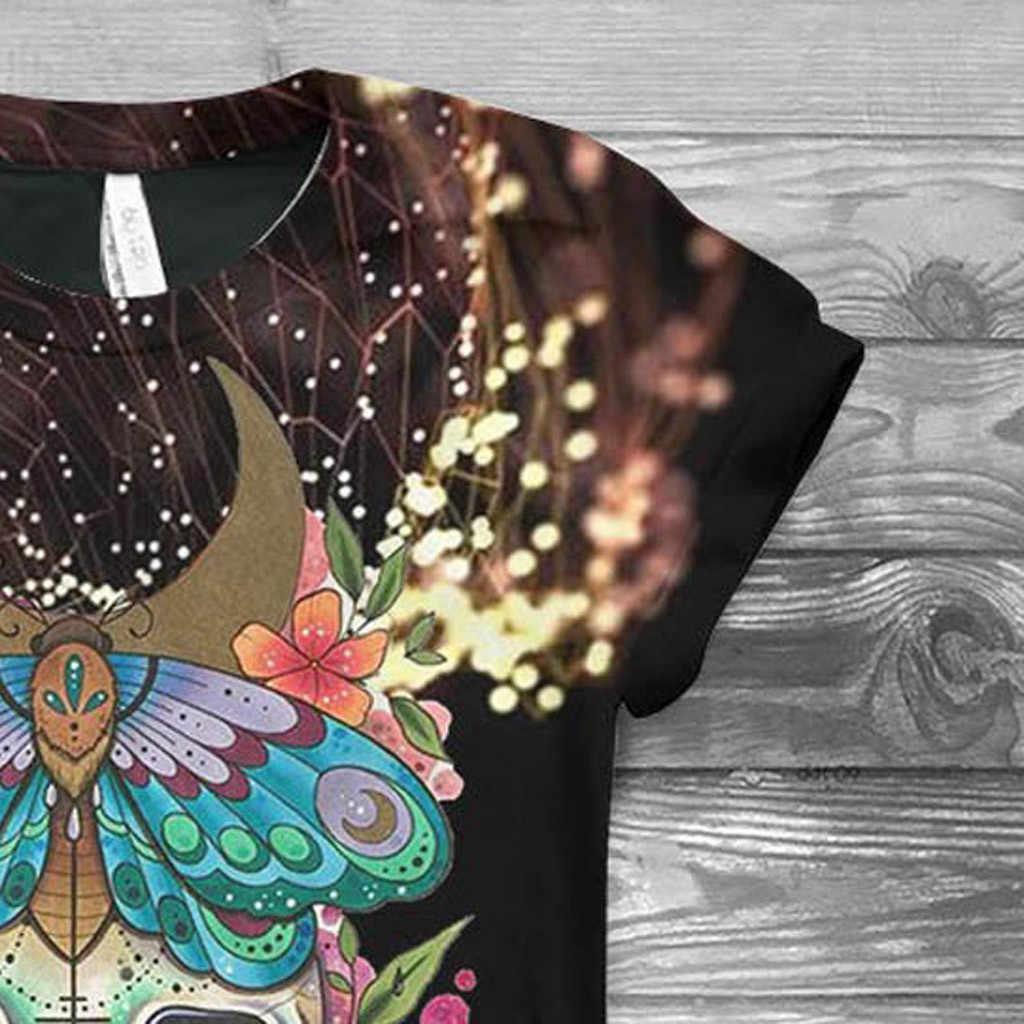 2020 tシャツプラスサイズの女性の半袖 3D スカルプリント o-ネック tシャツトップス tシャツ blusas mujer