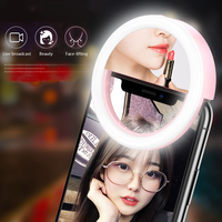 Espejo de maquillaje Universal LED teléfono móvil luz artefacto Pro señora LED perlas fotografía luz herramientas de belleza para foto Luz de relleno