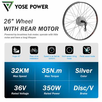 36V 350W 26 #8222 zestaw tylnego silnika kasety zestaw do roweru elektrycznego 36V tylny silnik Ebike disc V hamulec Ebike Umrüstsatz silnik tanie i dobre opinie YOSE POWER CN (pochodzenie) Bezszczotkowy 36 v 301-400 w