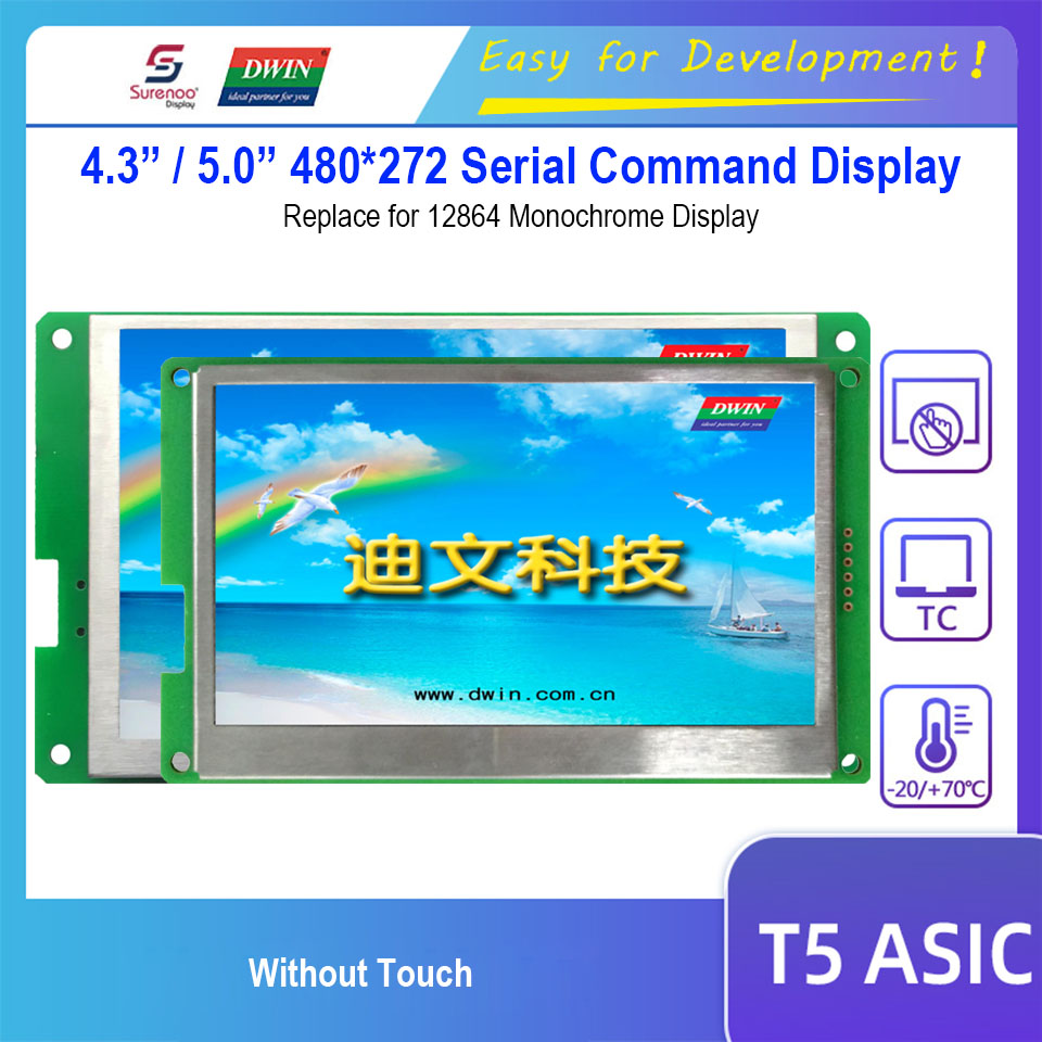 Dwin Serial Command Display, 4.3 DMT48270C043_04WN / 5.0 DMT48270C050_04WN 480X272 LCD Module Screen replace Graphic 12864 image
