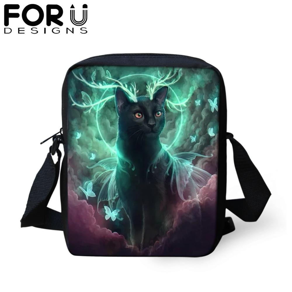 FORUDESIGNS Cartoon Gothic Cat Messenger Bag for Teenager Girl Novelty Shoulder Women Kids Mini Satchel Crossbody Purse 2019