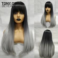 Długie peruki syntetyczne proste z grzywką dla Afro kobiet Ombre czarne szare żaroodporne peruki Cosplay włosów