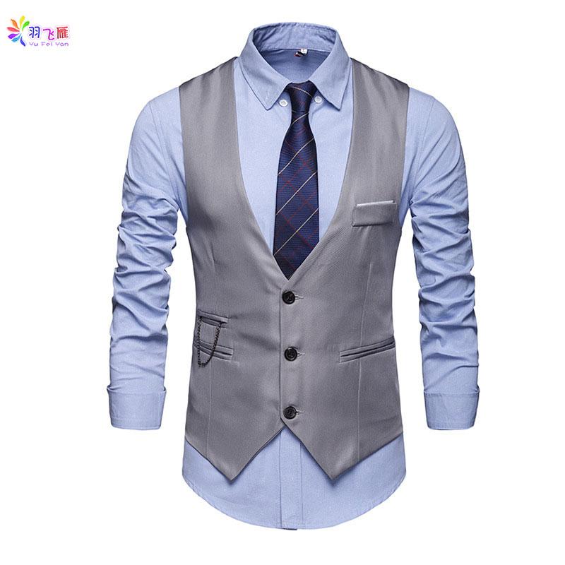 Casual Cotton Mens Sleeveless Vest Suit White Waistcoat Men Suit Vest Slim Fit 5XL Business Party Wedding Men Jacket Vests Gilet