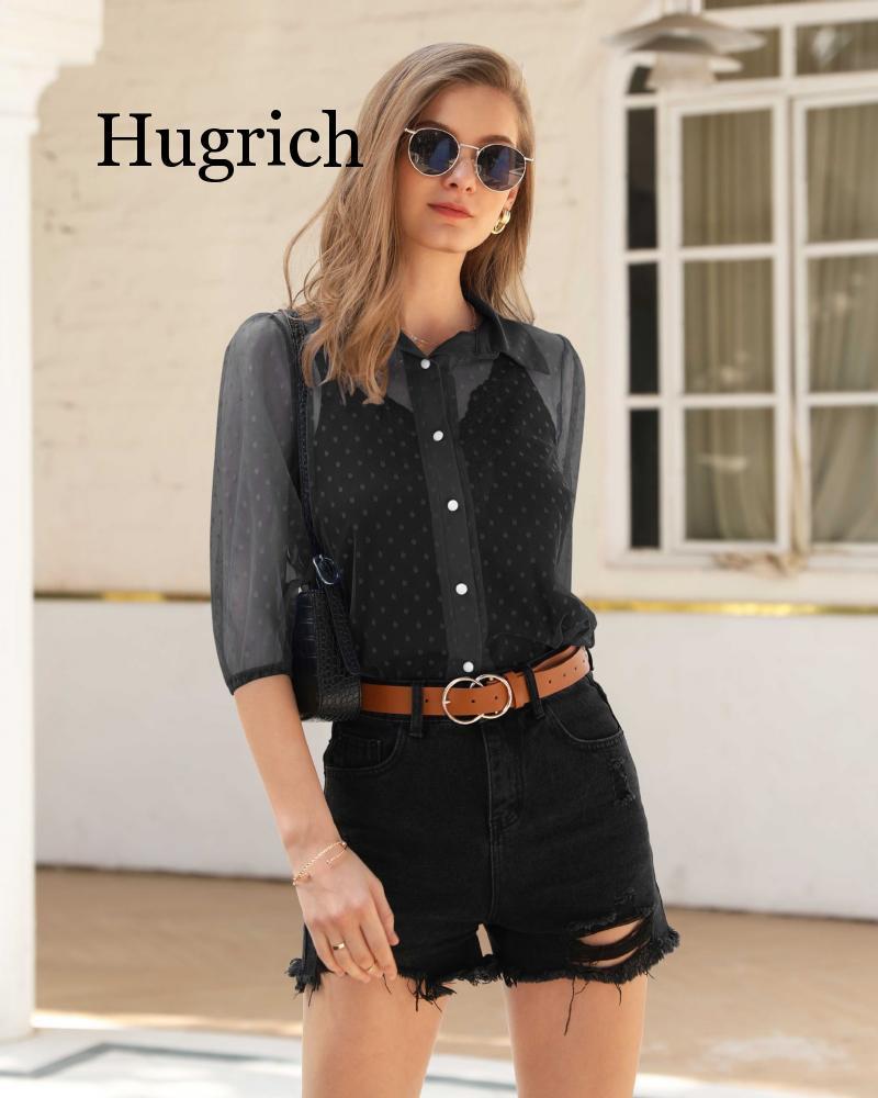 2020 Separate Station Hot Selling Hot Selling WOMEN'S Dress Polka Dot Transparent Half-sleeve Shirt Shirt Tops