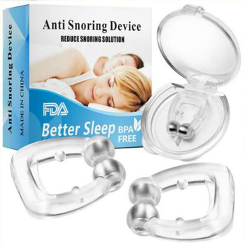 4PC Silicone Nose Clip Magnetic Anti Snore Stopper Snoring Silent Sleep Aid Device Guard Night Anti Snoring Device Health Care 2