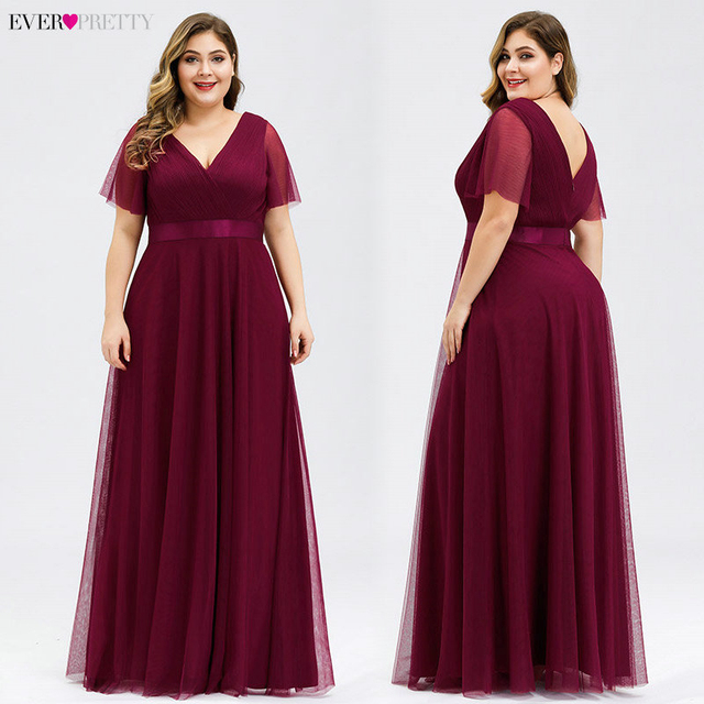 Plus Size Evening Dresses Ever Pretty EP07962 A-Line V-Neck Short Sleeve Women Long Formal Dresses Abendkleider Vestido Comprido 4