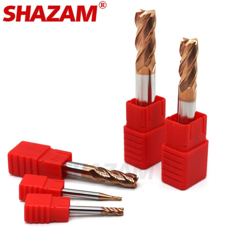 Фрезерный резак с покрытием из сплава, Вольфрамовая сталь, инструмент с ЧПУ, станок Hrc55, Endmill SHAZAM, топ, Фрезерный резак, комплект, фрезерные станки, инструменты