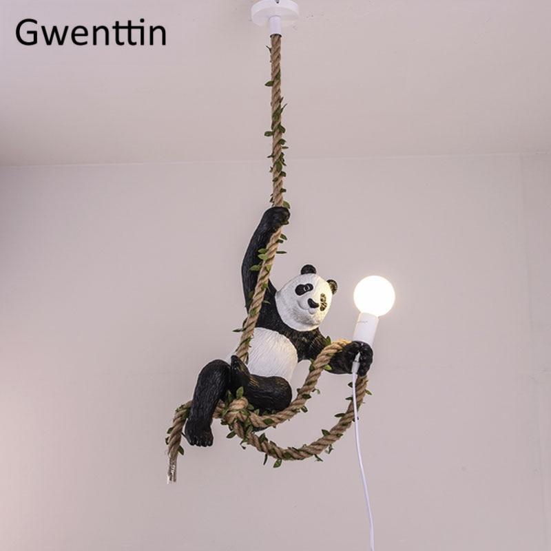 Résine Panda pendentif LED lumières Vintage chanvre corde cuisine lampes suspendues décor à la maison salle à manger luminaires Bar lampe industrielle