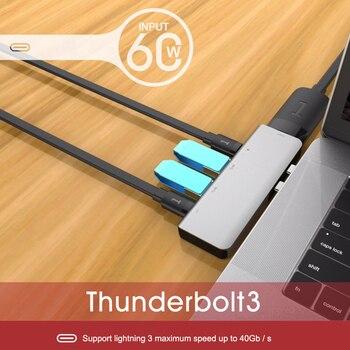 USB 3.0 Type-C Hub To HDMI Adapter 4K Thunderbolt 3 USB C Hub with Hub 3.0 TF SD Reader Slot PD for MacBook Pro2016/2017/2018 usb 3 1 type c hub 7 in 1 to hdmi adapter 4k thunderbolt 3 usb c hub with hub 3 0 tf sd reader slot pd for macbook pro air 2018
